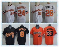 Wholesale Fast Baltimore Orioles Baseball Jersey Cal Ripken RICK DEMPSEY BOOG POWELL MURRAY White Black Orange Throwback Jerseys