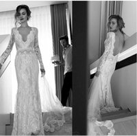 Wholesale 2016 Modest Long Sleeves Lace Sheer Wedding Dresses Sheath Deep V Neck Backless Vintage Tulle Brides Gowns Custom Made Sexy Open Back Dress