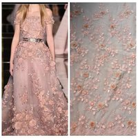 Wholesale New Peach off white beige light blue pink D flowers bridal evinging show dress lace fabric width by the yard