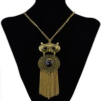 artificial owl - Cheapest Necklace Retro Artificial Gem Embellished Owl Tassel Pendant Long Necklace Gold