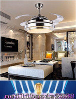 Wholesale ultra quiet quot hidden blade ceiling fan lamps v W cool and warm white invisible ceiling fans modern fan lamp MYY