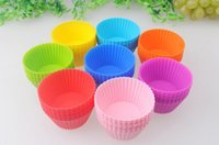 Wholesale 7cm Round shape Silicone Muffin Cases Cake Cupcake Liner Baking Mold multiple colors jelly baking mold cup cupcake