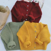 Wholesale 2016 autumn new baby boys and girls four buckle knit cardigan sweater coat
