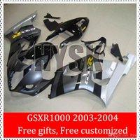 Sportbike Cubierta de plata Suzuki Gris Negro 2003 Piezas 2004 GSXR1000 GSXR GSX-R 1000 1000 03 04 K3 de la motocicleta que compite con el carenado de los kits de encargo