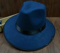 Wholesale Wide Brim Large Brimmed Hat Unisex Vintage Style Casual Cap Wool Felt Wide Brim Large Brimmed Hat British Style Hat