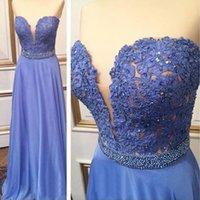 Wholesale New Fashion Blue Long Prom Graduation Dresses Lace Sweetheart Vestido de festa Women Chiffon Party Evening Gowns Floor Length L255