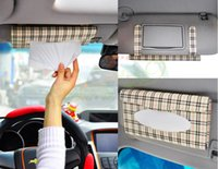 Wholesale 2015 Car sun visor Tissue box Auto accessories holder Paper napkin clip PU leather Case