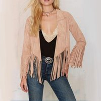 Wholesale Women Lady Casual Soft Vogue Suede Tassels Long Sleeve Comfortable Charming Good Selling Adorable Outwear Coat Camel S M L XL