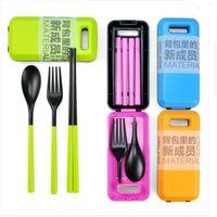 Wholesale Outdoor Travel Picnic Protable Tableware Eco friendly ABS Tableware Chopsticks Spoon Fork Storage Box