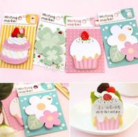 Wholesale 1pc Lovely Flower Cake Sticker Post Bookmark Marker Memo Flag Sticky Notes B00363 BARD