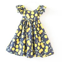 Cheap 2016 Girls Chic Cherry print dress Baby Summer Backless Dress fruit Printed Dress Flutter Sleeve Clothes 3colors 6size choose