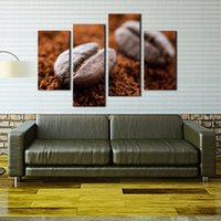 bean oil - 4 Panel Wall Art Brown Coffee Bean Wall Art Painting The Picture Print On Canvas Food Pictures For Home Decor Decoration