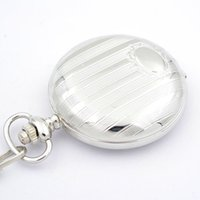 acrylic plastic suppliers - Unique silver Pocket watches With Chain Quartz Movement round alloy case analog for sell well watch supplier discount