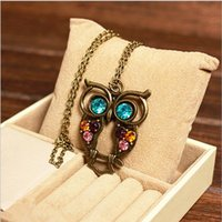 beach glass necklaces - Vintage Lovely Owl Women Pendant Necklace Summer Beach Women Sweater Necklaces Unisex Acessory Cheap Made In China