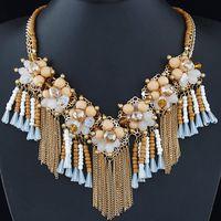Wholesale Collier Femme Luxury Multi layer Necklace Women Bijoux Statement Tassel Necklace Crystal Flower Necklaces Pendants Maxi Colar