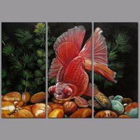 abstract fish painting - 3pcs set Modern Fashion Animal Fish decoration red pet goldfish wall art picture poster Canvas Painting for living room unframed
