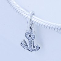 Wholesale Authentic sterling silver beads Symbol of Stability with Clear Cz Dangle Fits for Pandora Jewelry Bracelets Necklace pc