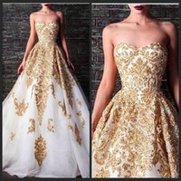 accent model - 2016 Evening Dresses Rami Kadi Sweetheart Beaded Crystal Accented White And Gold Applique Formal Gowns Vestido Vermelho Sereia