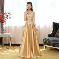 beaded tops for evening wear - Luxury Gold Evening Gowns Lace Top Draped Pleats Elegant Formal Prom Dresses For Special Occasion In Stock Cheap Dresses Evening Wear