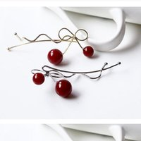 Wholesale Hair Pins Red Cherry for Girls Butterfly Cute Hair Accessory In line Young Girl Hair Clips Hot Sell