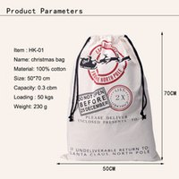 Wholesale Christmas Large Canvas Monogrammable Santa Claus Drawstring Bag With Reindeers Monogramable Christmas Gifts Sack Bags C90015