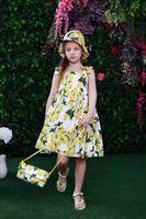 Cheap Girls lemon dress 2016 new children lemon fruit printed suspender dress +hat 2pcs sets kids princess dress children clothes A8716