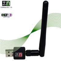 al por mayor mejores antenas wifi-Wireless WiFi 150Mbps RT5370 Mini USB con adaptador de antena mejor para Openbox X3 X4 X5 Z5 Skybox F5S V8 VU VU SOLO DUO