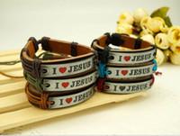 Wholesale I Love JESUS Bracelets Leather Alloy ID Bracelet Religious Jewelry Wrap Belt Bracelet Adjustable Mens Accessories Mens Jewelry