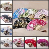 al por mayor ventiladores de baile japonés-Japonés Sakura mariposa plegable mano ventiladores de seda de tela de bambú baile bailarín nupcial regalos de la boda