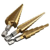 Bon Marché Forets en métal-Hot Sale 3pcs / set titane Bits étape de forage 3-12mm 4-12mm 4-20mm Outils HSS électriques à haute vitesse en acier Bois Métal Drilling