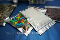 al por mayor bolso de la cremallera lateral-200pcs, 9 * 16cm translúcido de aluminio chapado bolsa de plástico - lado bolsa de plástico aluminizado lámina de plata con cierre de cremallera frontal clara