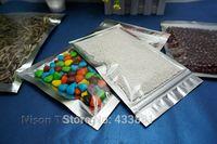 aluminum plate aluminium - 200pcs cm Translucent plating aluminium ziplock bag side silver aluminized foil plastic pouch with front clear zipper seal