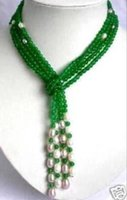 beaded scarf necklace - gt gt gt mm Green jade White Pearl scarf form necklace quot
