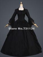 bell war - 2016 Custom Black Classical Vintage Renaissance Gothic Lolita Dress Victorian Southern Belle Dress Civil War Halloween Dress