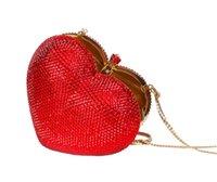 Cheap Wholesale-Red heart shape crystal clutch bag Rhinestone evening bag metal Ladies party purse Heart shaped diamond Ladies Wedding Bag 88167