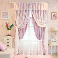 Wholesale Custom Made Princess Beauty Layers Curtain for Girl s Bedroom Lace Sheer tulle princess Curtain Living Room Window Curtains Wedding decors