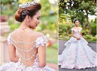 Wholesale Colored Organza Tulle Lace Flowers Mak tumang Chapel Train Ball Gown Wedding Dress d floral appliques puffy dress