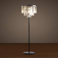 Wholesale floor lamp crystal led standing lamps for living room crystal bedroom lamp clear smoky gray K9 crystal floor lamp V V