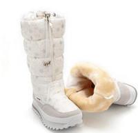 alta cargadores de las mujeres del nuevo invierno de la felpa caliente del zapato de señora Plus tamaño de 35 a 41 fácil de desgaste de color blanco botas para la nieve de la flor de la cremallera encima de la muchacha