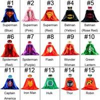 Wholesale L65 W65CM Superhero Cape Mask Double Spiderman batman superman cape mask Reversible Superhero Cape supergirl children capes mask f1712018