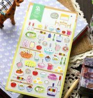 Wholesale New set cute Cartoon kitchen style paper sticker Decoration label mobile sticker