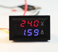Wholesale DC V A Voltmeter Ammeter Blue Red LED Dual Digital Volt Amp Meter Gauge