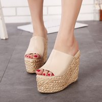 anti skid shoe covers - Summer Thick Bottom Waterproof Anti skid Beach Sandals Muffin Female Slippers Fashionable High heeled Wedges Shoes