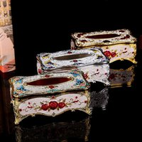 Wholesale 1 High class european style hotel bars tissue box Zinc alloy with diamond tissue boxes Fashionable household decoration