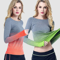 Wholesale New Coming Fittness Quick Dry Sport running Yoga Gradient T shirts Long sleeve Breathable Sweat t shirt