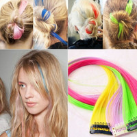 wigs and hair pieces - Colorful Popular wig hair piece Straight wig Fashion Clip Synthetic Straight Hair Decoration and hair color Straight hair wig piece