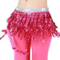 bellydance hip scarves - 7 Colors Sequin Bellydance Training Clothes Layers Wrap Hip Scarf Adjustable Fit Tassel Women Belly Dance Waist Belt