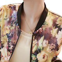 Wholesale New Autumn Women Bomber Jacket Vintage Sweet Floral Collar Long sleeved Bomber Short Print Zipper Jacket Coats