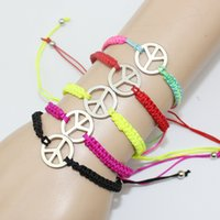 Wholesale 2016 New Fashion Peace Sign Bracelet For Women Colorful Rope Chain Bracelets Handmade Jewelry S119
