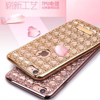 apple grid - Soft TPU Grid Weave Pattern Diamond Set Plating Electroplate Back Case Cover For iPhone S Plus S Samsung Galaxy S7 S6 edge Note